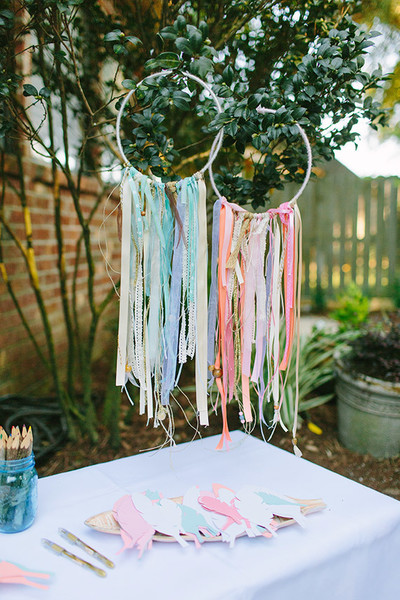 Colorful Fabric Streamer Hoops