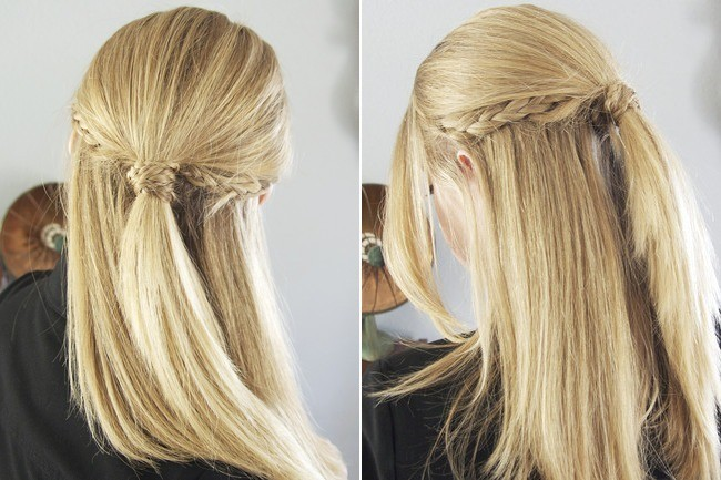 Hairstyles Braids Half Up: Yes, You Can Do This Tri-Braid Half Updo At Home