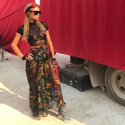In Flowing Florals At Burning Man 2017