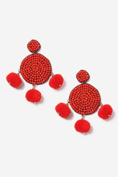 Red Pom Pom and Bead Earrings