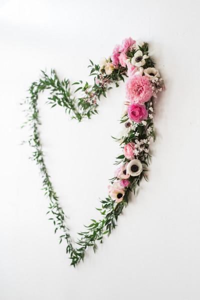 Heart-Shaped Garland With Flowers