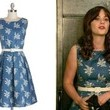 Zooey Deschanel's Blue-and-White Bird-Print Belted Dress on 'New Girl'