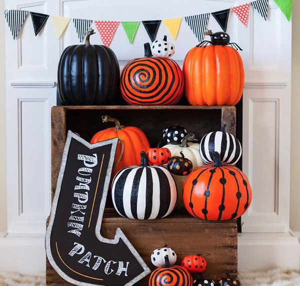 Painted Pumpkin Display