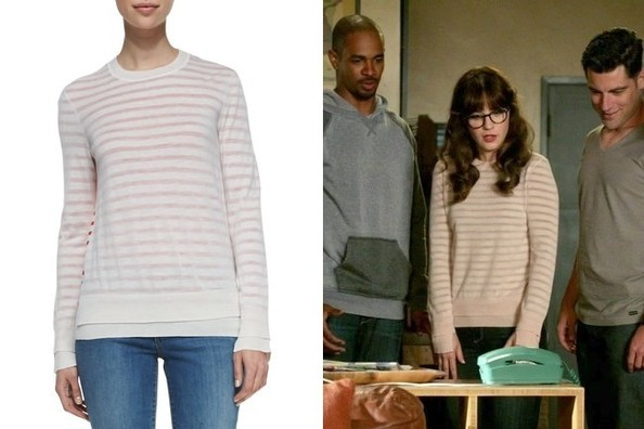 5bf0762187 Zooey Deschanel s Nude Striped Sweater on  New Girl  - Shop Zooey ...
