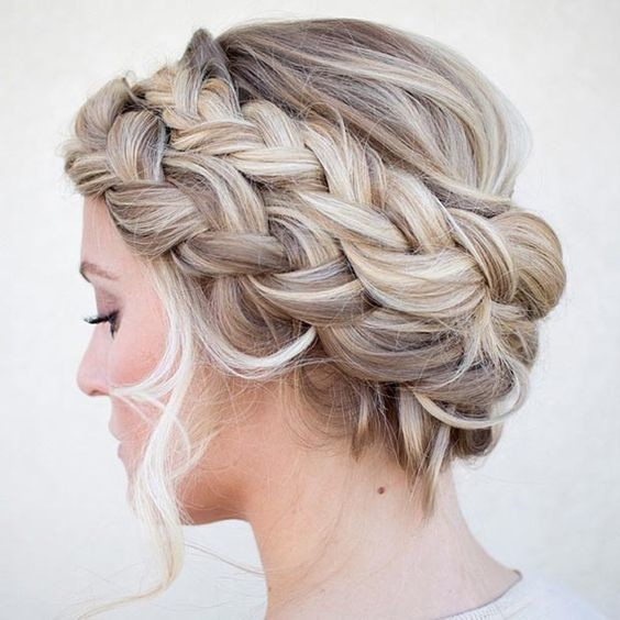 Hairstyles With A Crown: Double French Braid Crown Updo