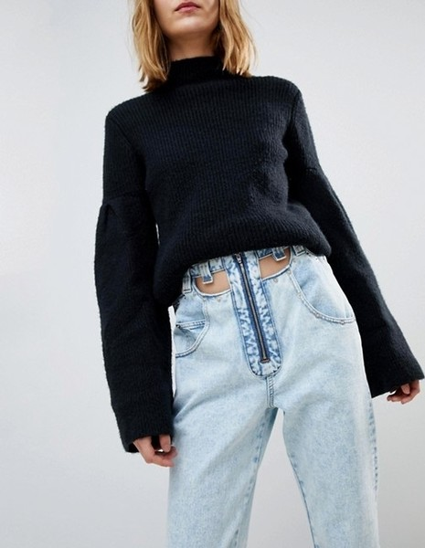 Cut-Away Belt Jeans