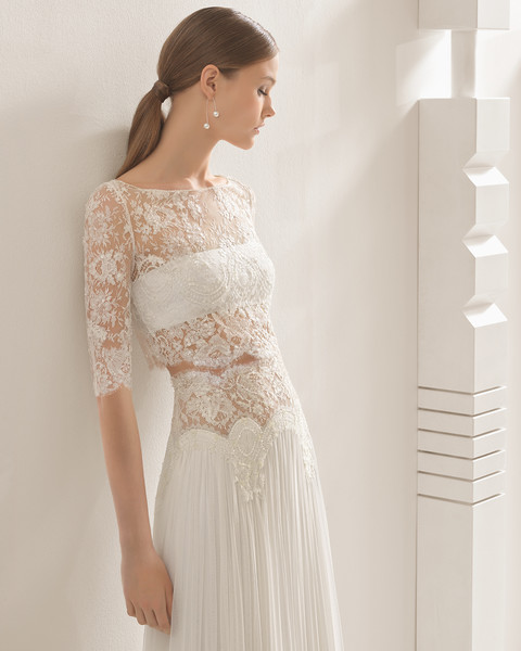Elegant 2 Piece Wedding Dresses : Beaded lace modern and elegant two piece wedding dresses