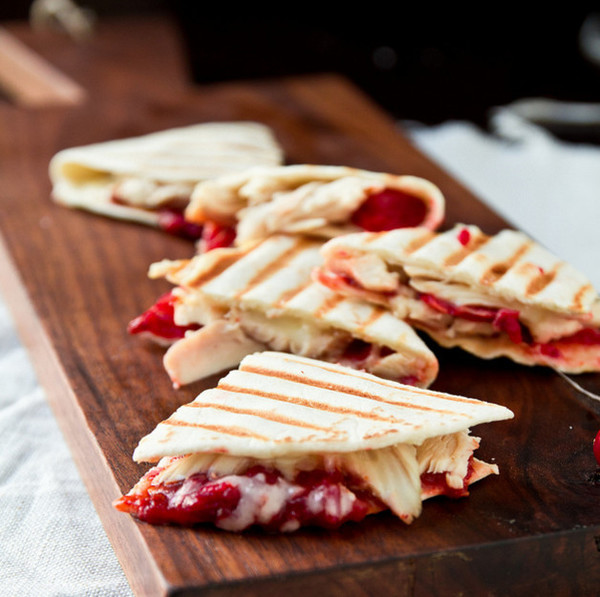 Turkey Quesadillas With Chipotle Cranberry Sauce