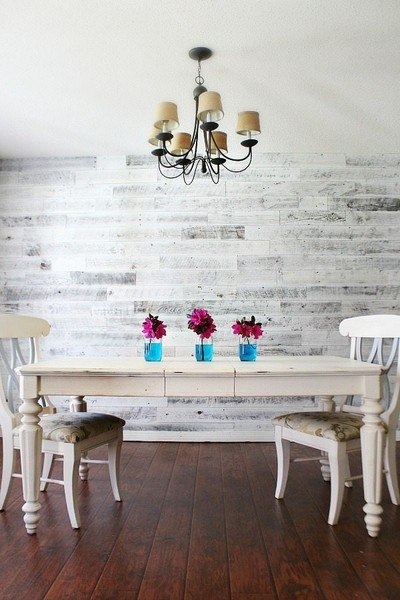 DIY Weathered White Wood Wall Treatment