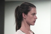 Victoria's Secret supermodel Alessandra Ambrosio maintains her svelte shape by going to a Pilates class in Venice. The barefaced Brazilian model, 29, worked on her arms and her legs as she did a variety of workout exercises. Alessandra has a young daughter with her spouse Jamie Mazur.